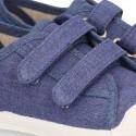 Nueva Zapatilla con puntera y doble velcro en lona piqué algodón en color JEANS.