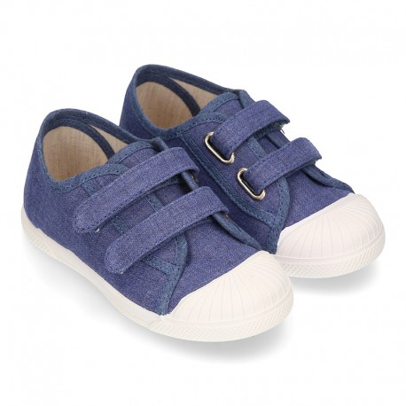 New Canvas Sneaker shoes in JEANS color with toe cap and double velcro strap.