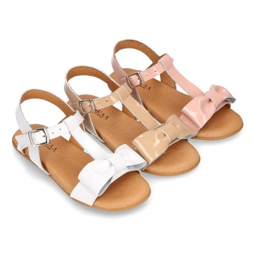 PATENT Leather Sandal shoes with big bow for toddler girls.