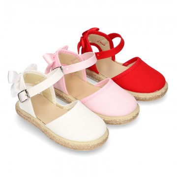 Cotton canvas little espadrille shoes with RIBBON design for girls.