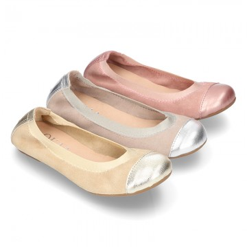 Classic suede leather ballet flat shoes with elastic band and METAL toe cap.