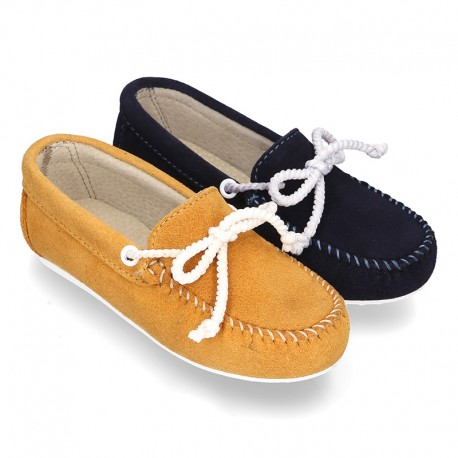Suede leather Moccasin shoes NAUTICAL.