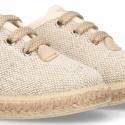 LINEN canvas Laces up style espadrille shoes in NATURAL color.