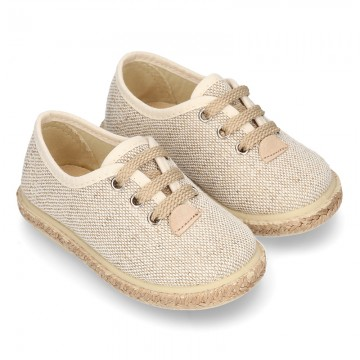 LINEN canvas Laces up style espadrille shoes in NATURAL color.