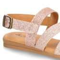 Thin GLITTER leather sandal shoes with straps design for toddler girls.