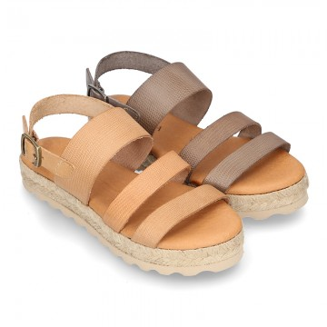New leather Sandals espadrille style with parallels straps.