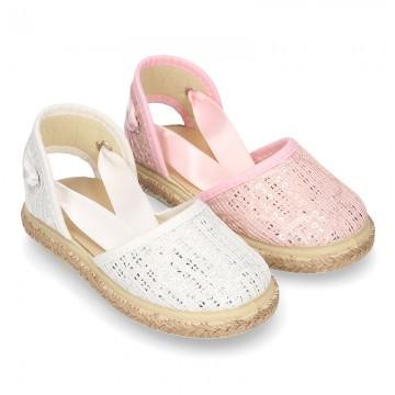 SHINY cotton canvas Dancer style espadrille shoes.
