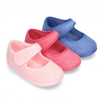 Terry cloth Home little Mary Jane shoes with velcro strap.
