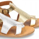 New METAL leather sandal shoes with engraved design for toddler girls.