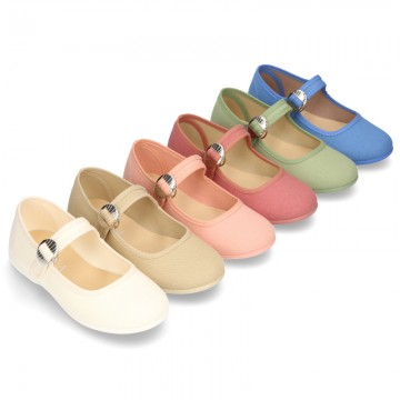 New Cotton canvas Mary Jane shoes with japanese buckle fastening in pastel colors.