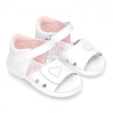Little Washable leather sandals with front velcro strap and SUPER FLEXIBLE soles.