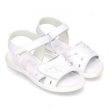 Washable leather sandals with front velcro strap and SUPER FLEXIBLE outsole.