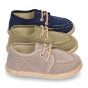 Washed Cotton canvas boat shoes espadrilles style.