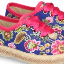 New Cotton canvas Bamba shoes with FLOWERS design.