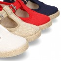 LINEN canvas T-Strap shoes espadrille style with buckle fastening.