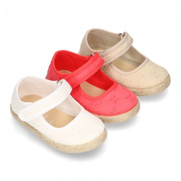 MAHON design Cotton canvas espadrille shoes little Mary Jane style with velcro strap.