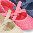 LINEN canvas Ballet flat shoes angel style.