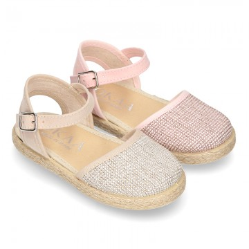 Little METAL soft canvas espadrilles with buckle fastening for girls.