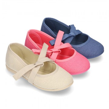 LINEN canvas Ballet flat shoes angel style.