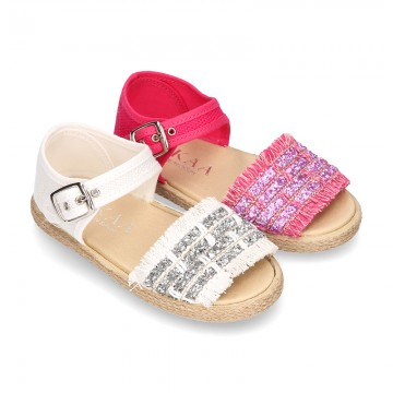 Little SANDAL shoes espadrille style in metal linen canvas.