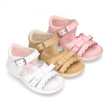 Washable leather sandals for little girls with chopped design and SUPER FLEXIBLE soles.