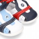 Combined Washable leather Sandal shoes for little kids with velcro strap and EXTRA FLEXIBLE outsole.