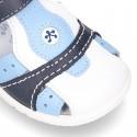 Sandalia niño peque combinada piel lavable con velcro y suela SUPER FLEXIBLE.