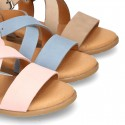 NOBUCK leather sandals with crossed rear straps for toddler girls.
