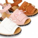 Nappa leather Menorquina sandal shoes with velcro strap and FRINGED design.