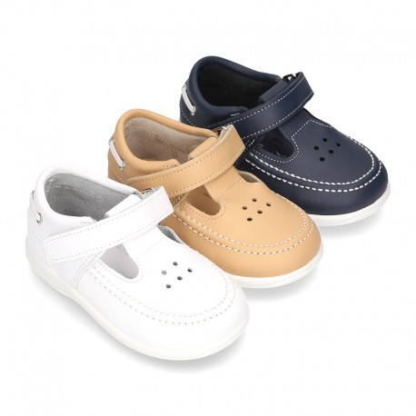 Washable leather Sandal shoes Boat style sandal with velcro strap for kids.