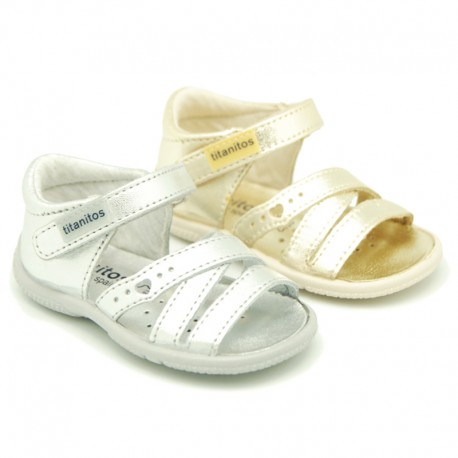 Metal finish leather sandals for little girls with hook and loop strap and EXTRA FLEXIBLE outsole.