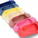 Cotton canvas little Ballet Flat shoes with adjustable ribbon in NEW seasonal COLORS.