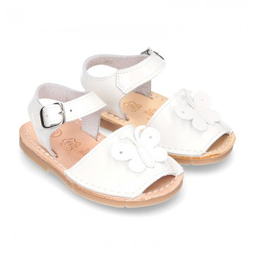 New Patent leather Menorquina sandals with BUTTERFLY design.