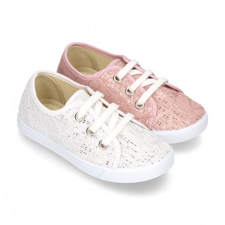 New Cotton canvas Bamba shoes with SHINY effect design.