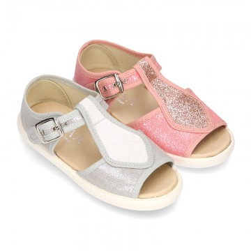 Little SANDAL shoes roman style in metal canvas for girls.