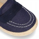 New LINEN canvas Moccasin shoes espadrille style for little kids.