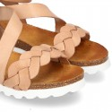 New Cowhide leather sandal shoes with braided design and buckle closure to the ankle.