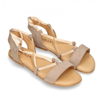 Suede leather sandal shoes to dress with ties crossed design for girls.