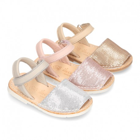 EXTRA SOFT leather Menorquina sandals with velcro strap and sequins design.