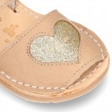 Extra soft Nappa leather Menorquina sandals with HEART design for little kids.