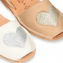 Extra soft Nappa leather Menorquina sandals with rear strap and HEART design.