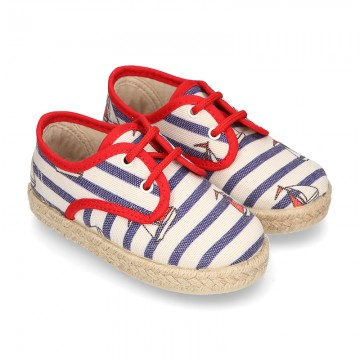 NAUTICAL design canvas Laces up style espadrille shoes for kids.