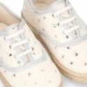 METAL STARS design canvas Bamba style espadrille shoes.