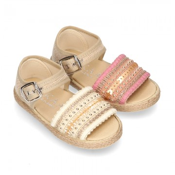 Little SANDAL shoes espadrille style in metal linen canvas with shiny design.
