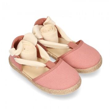 Piqué cotton canvas Dancer style espadrille shoes in Make up pink color.