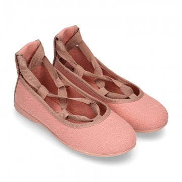Cotton Canvas ballet flat shoes dancer style in MAKE UP PINK color.