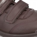 School shoes laceless in washable leather.