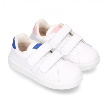 New Okaa Tennis shoes with LEATHER INSOLE and velcro strap for kids.