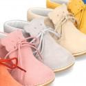 Botita Safari bebé osito con suela SUPER FLEXIBLE en piel serraje en colores pasteles.