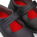 School shoes Mary Jane style with velcro strap in washable leather.